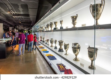 BARCELONA, SPAIN - MAY 28, 2016: FC Barcelona Museum in Camp Nou Studium. The museum occupies 3,500 square meters and attracts 1.2 million visitors a year.