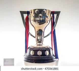 BARCELONA, SPAIN - MAY 28, 2016: La Liga Cup ( 2015-2016 Spanish League ) in FC Barcelona Museum Camp Nou Studium.