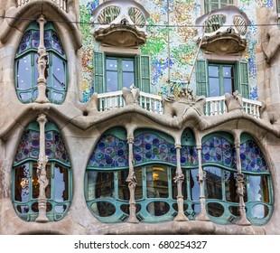 BARCELONA, SPAIN - MAY 3, 2017: Barcelona, Spain. Fragment of famous building Casa Batllo of Antoni Gaudi