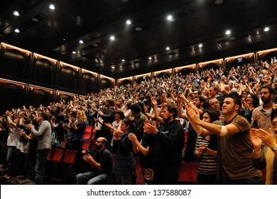 BARCELONA, SPAIN - MAY 3: Fans of Mishima band show their happiness applauding warmly at Teatre Lliure on May 3, 2012 in Barcelona, Spain.