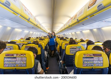 BARCELONA, SPAIN - MAY 30, 2014: Ryanair Jet airplanes interior view. Ryanair is the biggest low-cost airline company in the world.