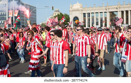 BARCELONA, SPAIN - MAY 30, 2015: Football Fans of  Athletic Bilbao before  Copa del Rey final  the Barcelona club   in Barcelona