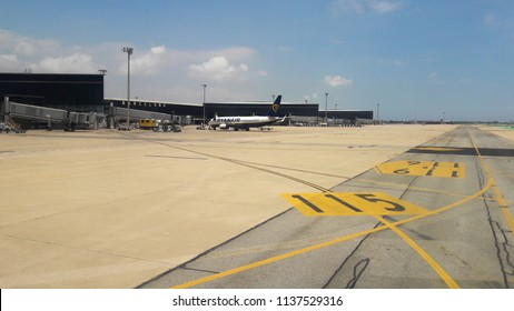 Barcelona, Spain - May 31, 2018: view from the airplane window to the runway