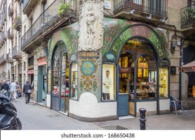 BARCELONA, SPAIN - MAY 31 Modernist facade of traditional pastry shop in a famous corner of Ramblas street, in Barcelona, Spain, on May 31, 2013
