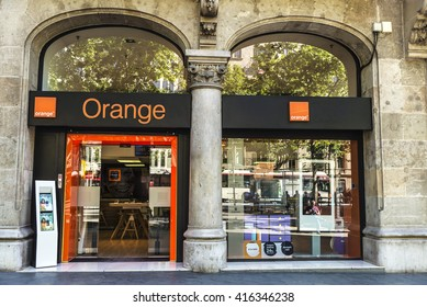 Barcelona, Spain - May 4, 2016: Orange shop located on Passeig de Gracia, one of the most expensive streets in Europe.