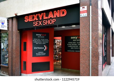 Barcelona, Spain - May 5, 2018: Sexyland Sex Shop on Carrer de Còrsega in Barcelona Spain.