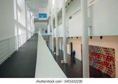 BARCELONA, SPAIN- MAY 5,2019: Interior museum MACBA, Contemporary museum of Barcelona, building designed by Richard Meier in El Raval quarter.