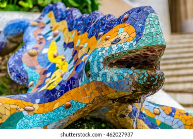 BARCELONA, SPAIN - MAY 6, 2016: Ceramic dragon fountain in Parc Guell, designed by Antonio Gaudi.