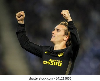 BARCELONA, SPAIN - MAY, 6: Antoine Griezmann of Atletico de Madrid celebrates goal  during a Spanish League match against RCD Espanyol at the RCDE Stadium on May 6 2017 in Barcelona Spain