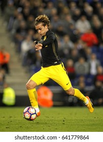 BARCELONA, SPAIN - MAY, 6: Antoine Griezmann of Atletico de Madrid during a Spanish League match against RCD Espanyol at the RCDE Stadium on May 6 2017 in Barcelona Spain