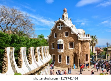 Barcelona / Spain — May 7, 2013: an entrance pavilion at Park Guell in Barcelona, Catalonia, Spain. Park Guell (Güell) is famous for its houses, pavilions and mosaic benches designed by Antoni Gaudi