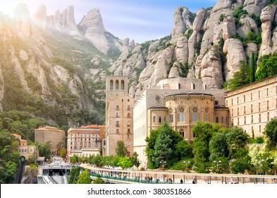 Barcelona, Spain Montserrat Monastery, Santa Maria de Montserrat is a Benedictine abbey located on the mountain of Montserrat nearby from Barcelona.