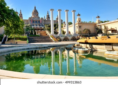 Barcelona, Spain - National art museum and fountain in Placa de Espanya