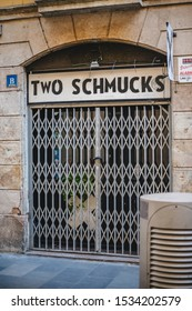 Barcelona, Spain - Nov 17 2017: Facade of the Closed Two Schmucks bar ranked among the world's best bars