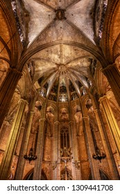 Barcelona, Spain - NOV 30, 2018: Santa Maria del Pi or Santa Maria del Pino. Interior view towards the nave. Located in the Ciutat Vella district. Barcelona, Spain