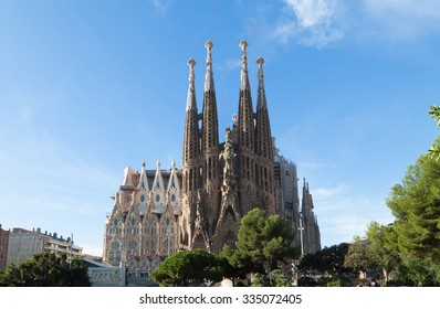 BARCELONA, SPAIN -NOVEMBER 03: Sagrada Familia on NOVEMBER 03, 2015: La Sagrada Familia - impressive cathedral designed by architect Gaudi, which  being build since March 19, 1882 and is not finished.