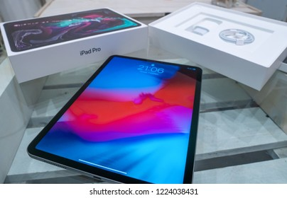 Barcelona, Spain - November 07, 2018: unboxing of Brand new Apple iPad Pro 2018, developed by Apple inc. and was announced on 30th of October 2018