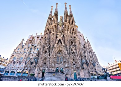 BARCELONA SPAIN -  November 09, 2016: La Sagrada Familia,  Nativity Facade - the famous cathedral designed by Gaudi, which is being build since 19 March 1882