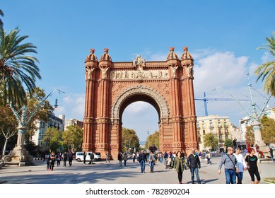 BARCELONA, SPAIN - NOVEMBER 1, 2017: Exterior of the historic Arc de Triomf. The landmark was built in 1888 as the entrance to the Barcelona World Exposition.