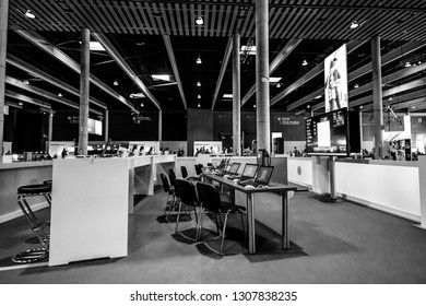 BARCELONA, SPAIN - NOVEMBER 10, 2015: Training zone with notebooks on tables at SAP TechEd 2015 conference at Fira Barcelona Gran Via Exhibition Center on November 10, 2014 in Barcelona, Spain.