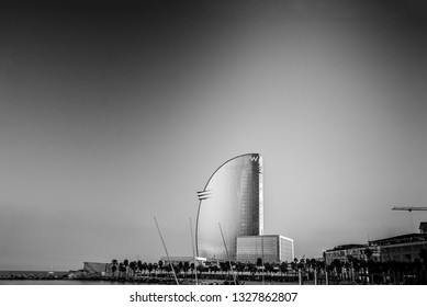 BARCELONA, SPAIN - NOVEMBER 10, 2015: W Barcelona Hotel, also known as the Hotel Vela (Sail Hotel) on November 10, 2014 in Barcelona, Spain. Designed by Architect Ricardo Bofill it is 170 meters high