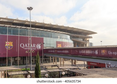Barcelona, Spain - November 12, 2015: Football stadium Camp Nou outside. The stadium has been the home of FC Barcelona since its completion in 1957.