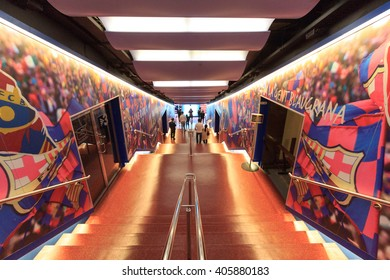 Barcelona, Spain - November 12, 2015: Football stadium Camp Nou players tunnel. The stadium has been the home of FC Barcelona since its completion in 1957.