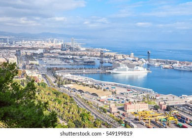 Barcelona, Spain - November 12, 2016: Industrial Port for freight transport and global business. One of the largest harbor in the Mediterranean