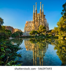 BARCELONA, SPAIN - NOVEMBER 15: Sagrada Familia on November 15, 2016 in Barcelona, Spain. This impressive cathedral was originally designed by Antoni Gaudi is still being built since 1882.