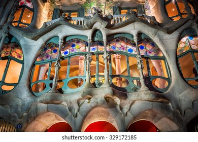 BARCELONA, SPAIN - NOVEMBER 16, 2014: Casa Batllo Facade in Barcelona, Spain. The famous building designed by Antoni Gaudi is one of the major touristic attractions in Barcelona.