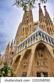 BARCELONA, SPAIN - November 16, 2018: La Sagrada Familia - cathedral designed by Gaudi, being built since 19 March 1882 impresses by its grandeur and beauty