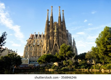 BARCELONA, SPAIN - NOVEMBER 18: La Sagrada Familia, the cathedral designed by architect Gaudi, which is being build since 1882 and is not finished on November 18, 2015 in Barcelona, Spain.