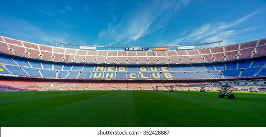 BARCELONA, SPAIN - NOVEMBER 19, 2015: Panoramic  view of FC Barcelona stadium Camp Nou  in Barcelona, Spain. By capacity its the largest stadium in Europe