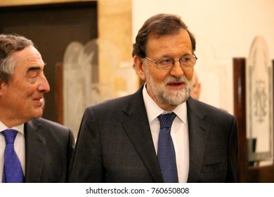 Barcelona, Spain - November 22, 2017: Spanish premier Mariano Rajoy in his first appearance in Catalonia as Spanish premier after the application of the article 155 of Spanish constitutution
