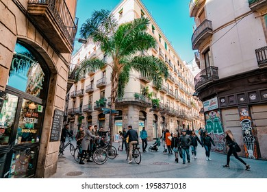 BARCELONA, SPAIN - November 24, 2019: View from the junction of Carrer de Jovellanos and Carrer dels Tallers, a famous shopping street in central Barcelona.