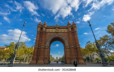 BARCELONA, SPAIN - NOVEMBER 25, 2015: The Arc de Triomf. Arc de Triomf was built as the main gate for 1888 Barcelona World Fair by Josep Vilaseca i Casanovas.