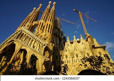 BARCELONA, SPAIN - November 25, 2018: La Sagrada Familia - the impressive cathedral designed by Gaudi, which is being build since 19 March 1882