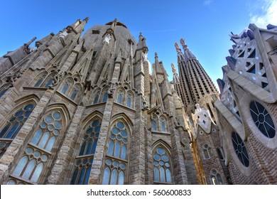 Barcelona, Spain - November 26, 2016: Basilica Temple Expiatori de la Sagrada Familia (Basilica and Expiatory Church of the Holy Family) in Barcelona, Spain.