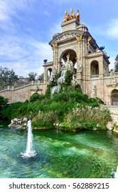 Barcelona, Spain - November 29, 2016: Fountain at the Parc de la Ciutadella. It is a park on the northeastern edge of Ciutat Vella, Barcelona, Catalonia, Spain.