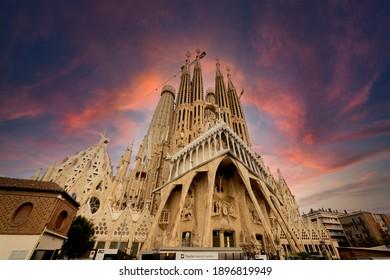 Barcelona, Spain - November 4 2019: View of Passion Facade of the iconic Sagrada Familia Basilica