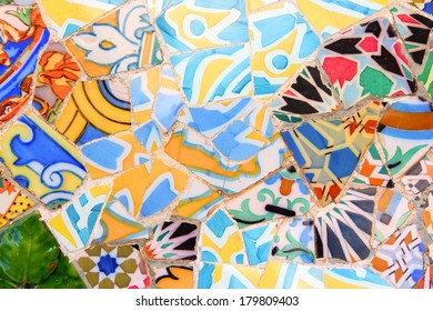 """BARCELONA, SPAIN - NOVEMBER 6: Ceramic art in Park Guell on November 6, 2012 in Barcelona, Spain. It was built in 1900-14 and  is part of the UNESCO World Heritage Site """"Works of Antoni Gaudi""""."""