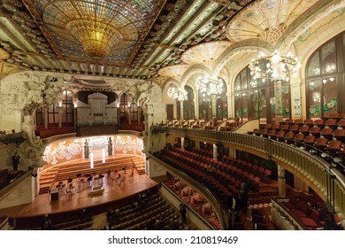 BARCELONA, SPAIN - NOVEMBER 7, 2013: Interior of Palace of Catalan Music in Barcelona, Catalonia.  Palace was designed in Catalan modernista style by Lluis Domenech i Montaner