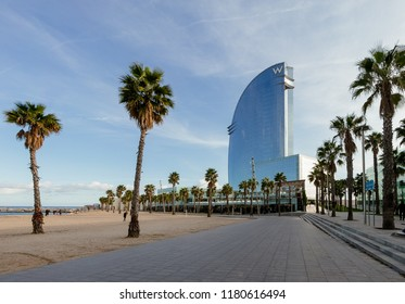 Barcelona, Spain - November 9, 2017: W hotel on the seafront Barcelona on November 9, 2017 in Barcelona, Spain