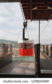 Barcelona, Spain - Oct 01, 2018: Cabin of funicular and station on Saint Sebastian tower