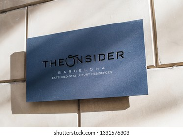 Barcelona, Spain - Oct 14, 2017: Entrance plaque at The Onsider luxury apartments in Barcelona. The Onsider extended-stay serviced residences