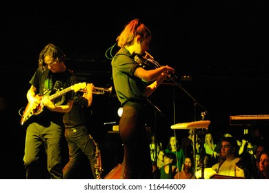 BARCELONA, SPAIN - OCT 14: Fanfarlo band performs at Apolo on October 14, 2012 in Barcelona.