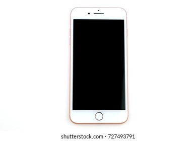 BARCELONA, SPAIN - OCT 3, 2017: An Apple iPhone 8 Plus device isolated on white background.