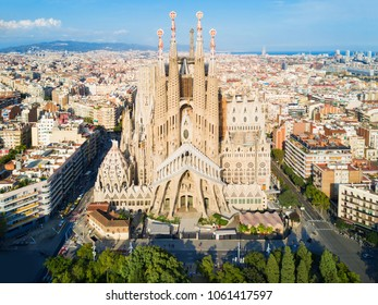 BARCELONA, SPAIN - OCTOBER 03, 2017: Sagrada Familia cathedral aerial panoramic view. Sagrada Familia is a catholic church in Barcelona, designed by Catalan architect Antoni Gaudi