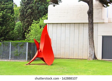 BARCELONA, SPAIN - OCTOBER 08: Red statue of Miro on October 08, 2013 in Barcelona, Spain. The red statue is located at the entrance to the Museum and Foundation Joan Miro in Montjuic mountain