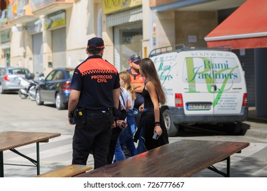 BARCELONA, SPAIN - OCTOBER 1, 2017: Civil protector